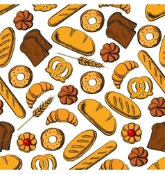 Bread and sweet buns seamless pattern backgorund vector