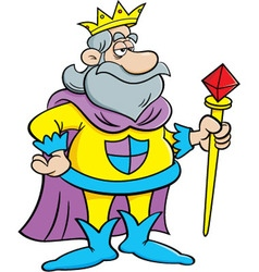 Cartoon king holding a scepter vector