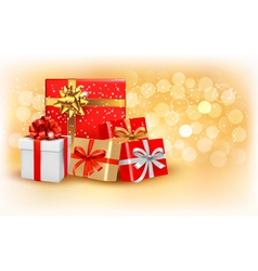 Christmas gold background with gift box and vector image vector image