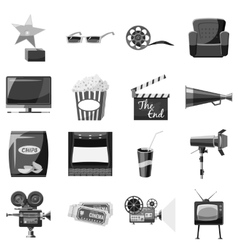 Cinema icons set gray monochrome style vector