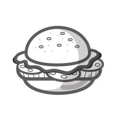 Contour delicious hamburger fast food icon vector