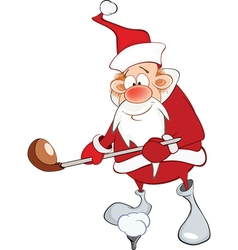 Cute Santa Claus Golfer Cartoon vector image