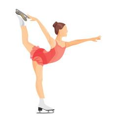figure skater girl in short red dress skating vector image vector image