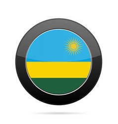 Flag of rwanda shiny black round button vector