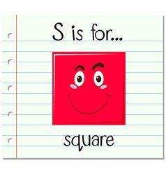 Flashcard letter S is for square vector image vector image