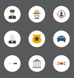 Flat icons suspicious police car bayonet and vector