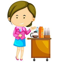 Flight attendant serving drinks vector