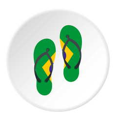 Flip flops in brazil flag colors icon circle vector