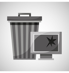 Garbage bin technology broken vector