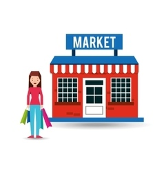 girl market shopping gift buying vector image
