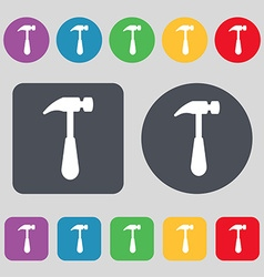 Hammer icon sign A set of 12 colored buttons Flat vector image