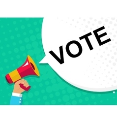 Hand holding megaphone with vote now announcement vector