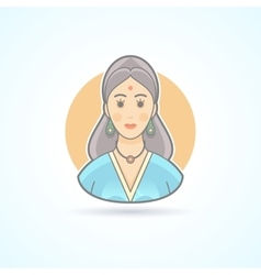Icon of an indian woman in traditional cloth vector