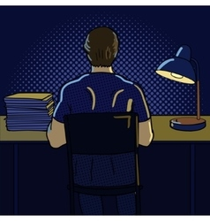 Man working at night pop art style vector image