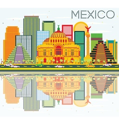 Mexico skyline with color buildings vector