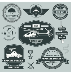 Military set label template of emblem element for vector