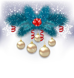 New year background with fir branches and glass vector