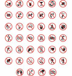 Prohibited warning signs vector