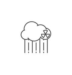 Radioactive cloud and acid rain thin line icon vector