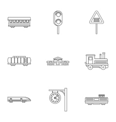 Railway transport icons set outline style vector