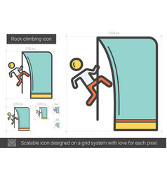 Rock climbing line icon vector