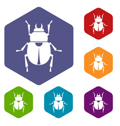 Scarab icons set hexagon vector