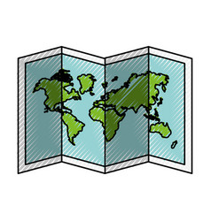 scribble world map cartoon vector image