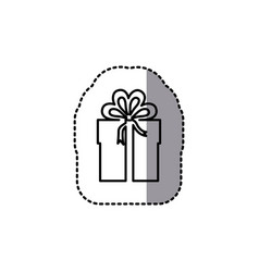 Silhouette emblem sticker box with bow ribbon icon vector