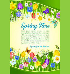 Spring time holiday flowers greeting poster vector