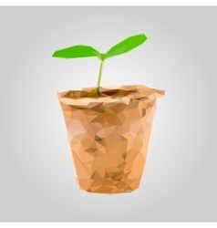 Sprout in a pot isolated on gray background vector