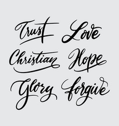 trust and hope handwriting calligraphy vector image vector image