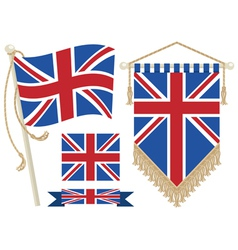uk flag and pennant vector image vector image