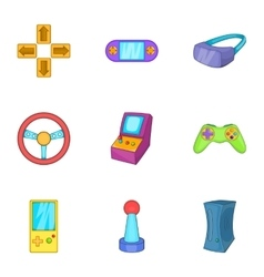 Video games icons set cartoon style vector