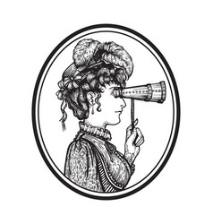vintage woman with binocular vector image