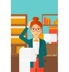 Woman holding long bill vector image vector image