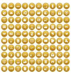 100 post and mail icons set gold vector