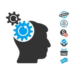 Head cogs rotation icon with free bonus vector