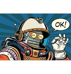 Retro robot astronaut gesture ok vector
