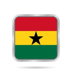 Flag of ghana shiny metallic gray square button vector