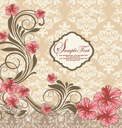 Elegant vintage damask floral invitation card vector