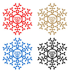 25 off discount sticker snowflake 25 off sale vector