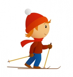 Little skier in red hat vector
