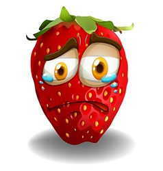 Strawberry with crying face vector