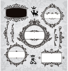 frames and vintage design elements vector image