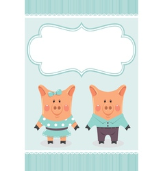 Cartoon pig invite vector