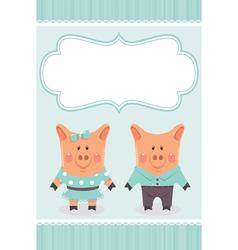 Cartoon pig invite vector