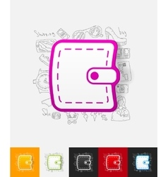 Purse paper sticker with hand drawn elements vector