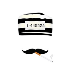 Prisoner cap mustache and cigarette vector