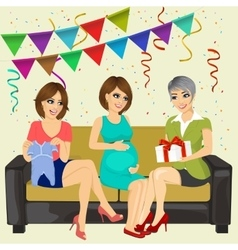 Three attractive women on a baby shower party vector