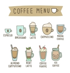 Set of different coffee style drinks vector